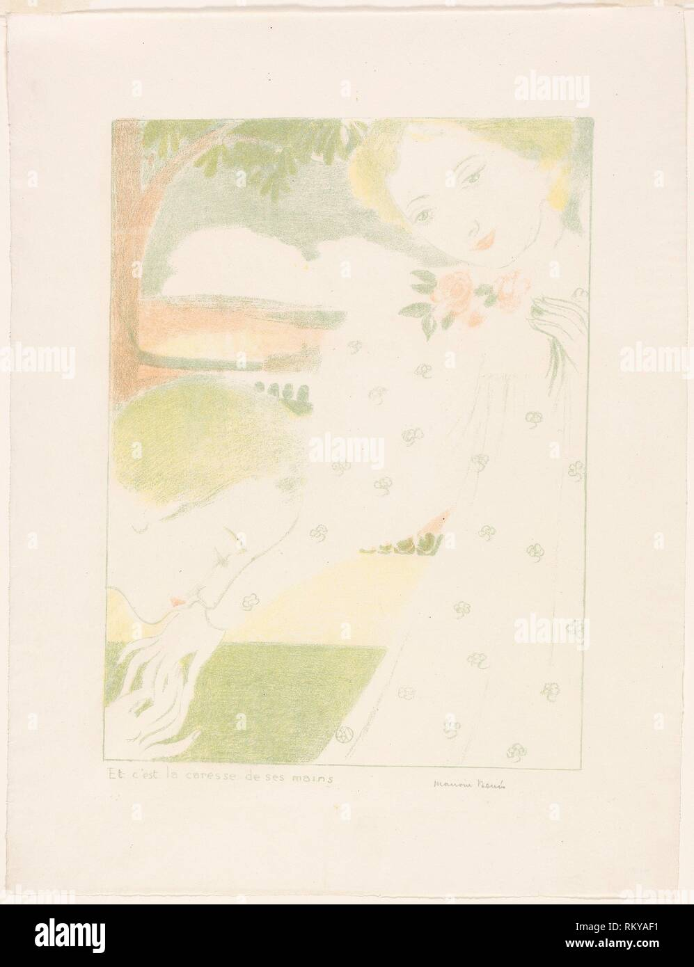 And It is the Caress of Their Hands, plate eight from Love - 1898, published 1899 - Maurice Denis (French, 1870-1943) published by Ambroise Vollard - Stock Image