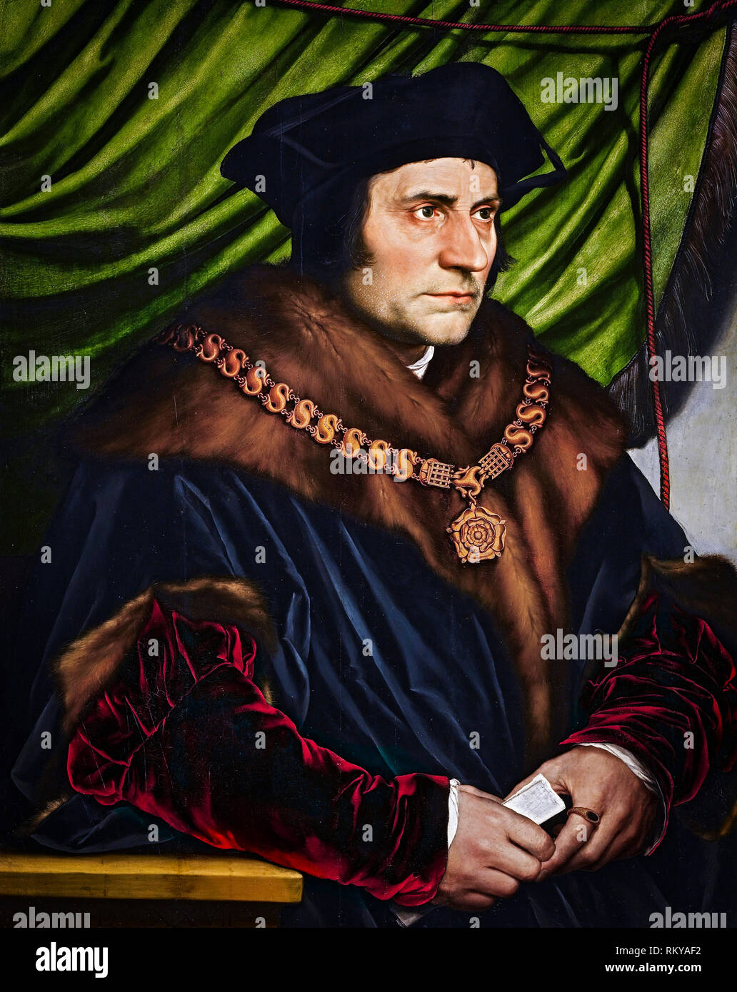 Sir Thomas More, portrait by Hans Holbein the Younger, 1527, painting - Stock Image