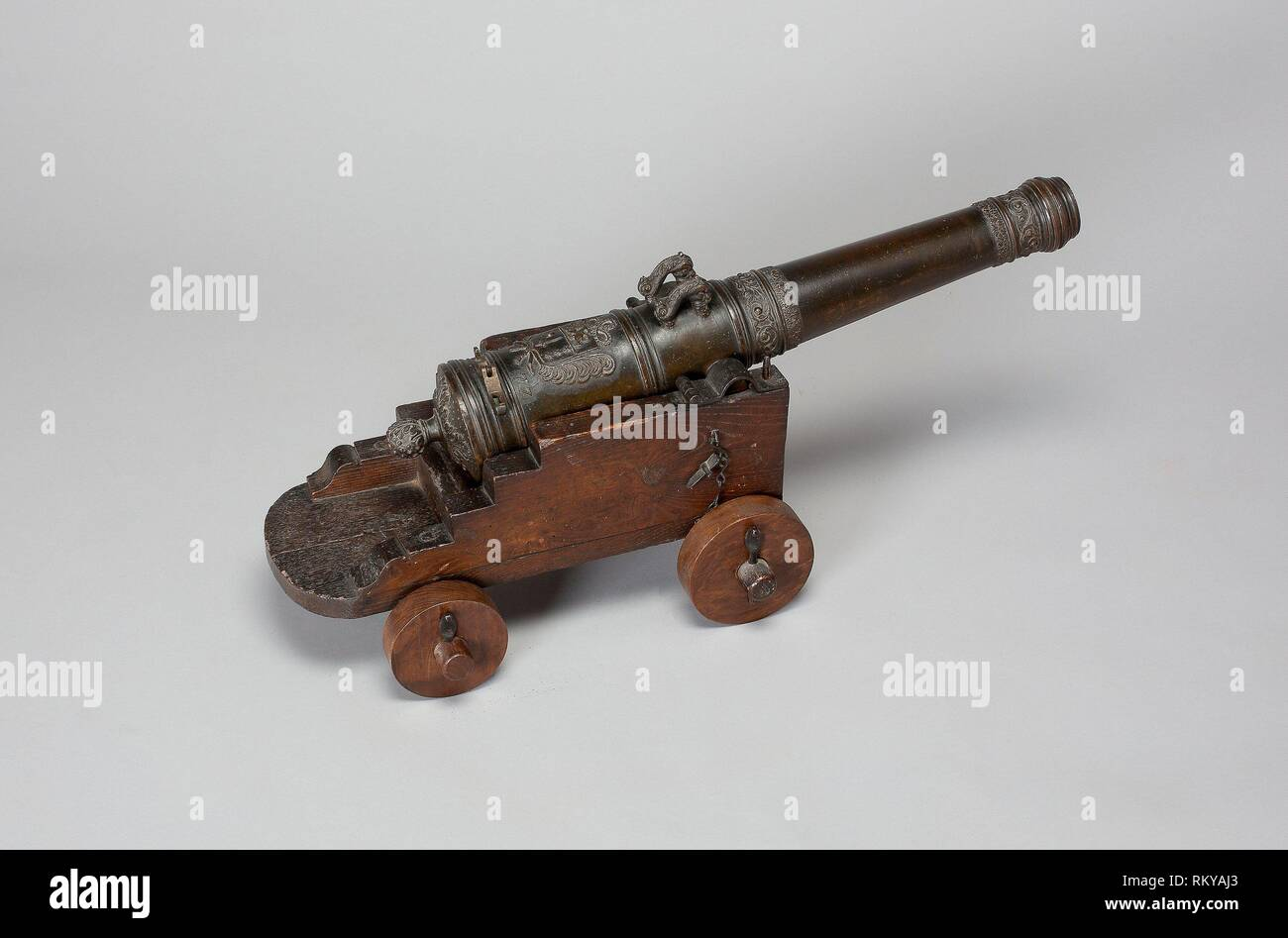 Model Field Cannon with Carriage - 1677 - French, possibly Dutch - Origin: France, Date: 1677, Medium: Bronze and wood, Dimensions: Length overall of - Stock Image