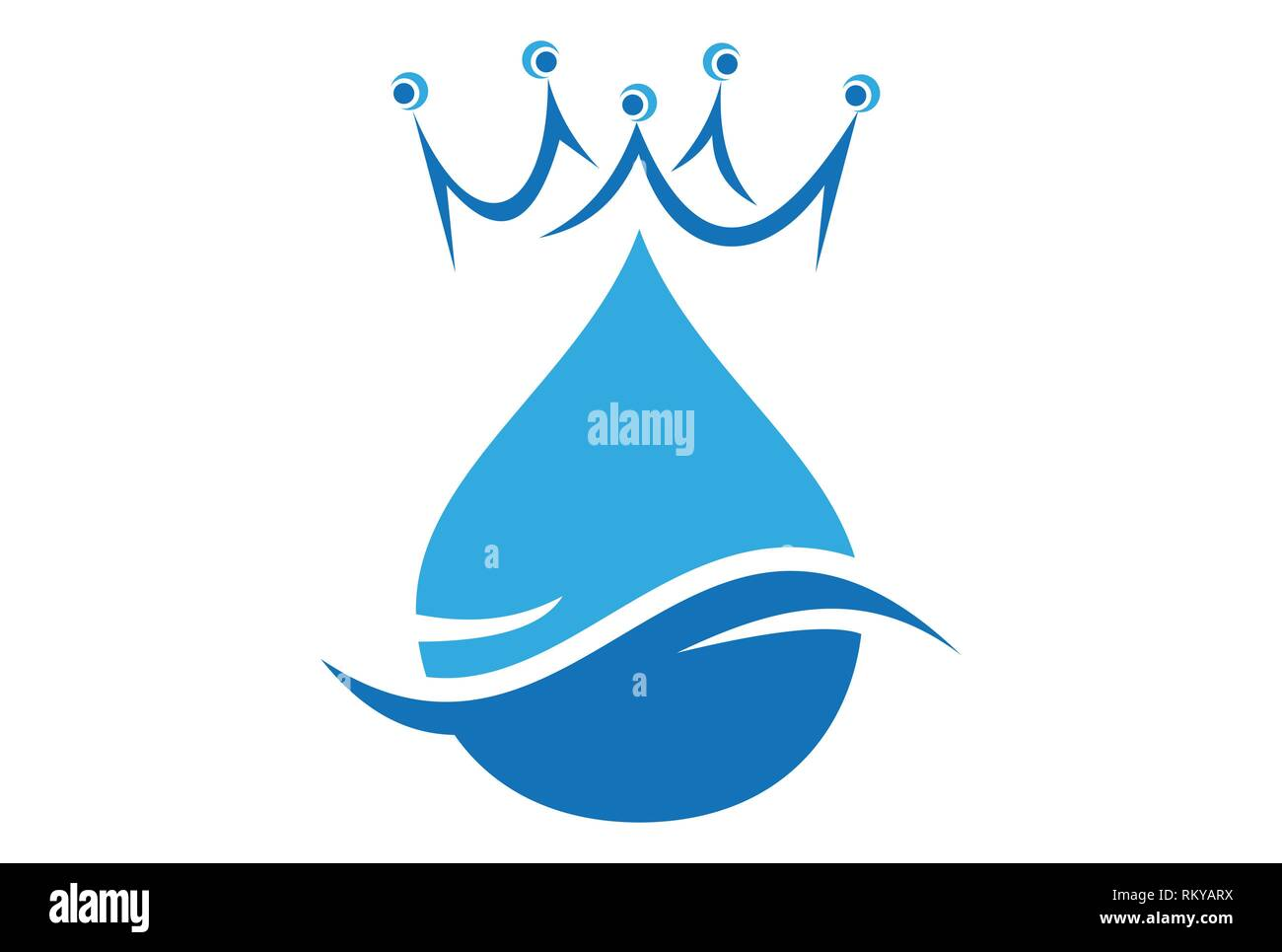 king water abstract concept logo icon vector concept flat design - Stock Image