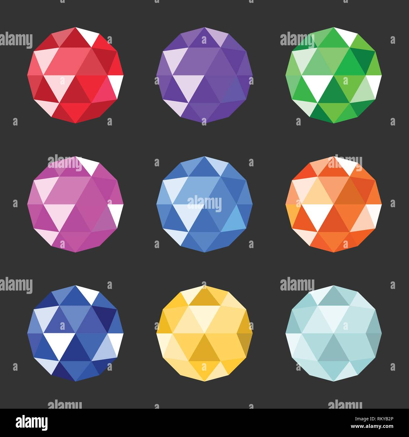 Vector jewels set. Gem stock vector illustration. Gemstones collection of different color - Stock Vector