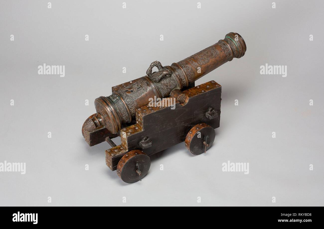 Model Field Cannon with Carriage - 1693 - Austrian - Origin: Austria, Date: 1693, Medium: Bronze, iron, wood, and copper, Dimensions: Length of - Stock Image