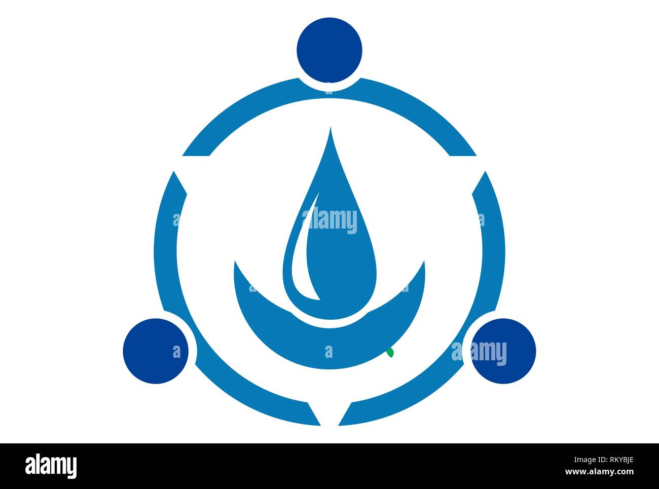 water blue concept nature logo icon vector concept flat design - Stock Image