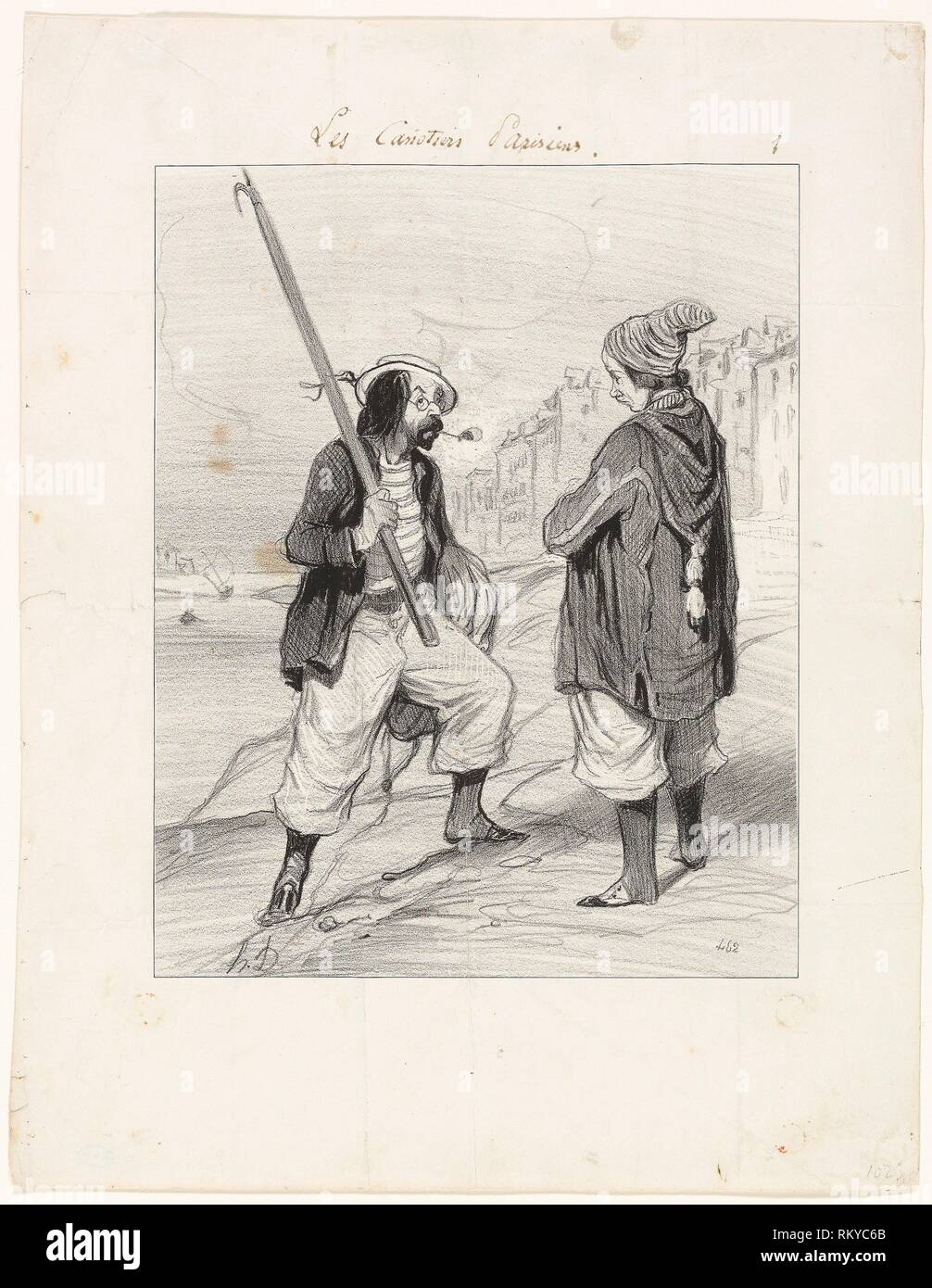 All Right Rigobert, My Old Friend…, plate one from Les Canotiers Parisiens - 1843 - Honoré-Victorin Daumier French, 1808-1879 - Artist: - Stock Image