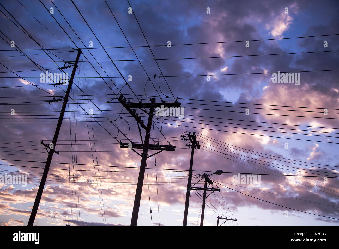 Looking up at powerlines and poles in the morning sky at sunrise in El Centro in California. - Stock Image