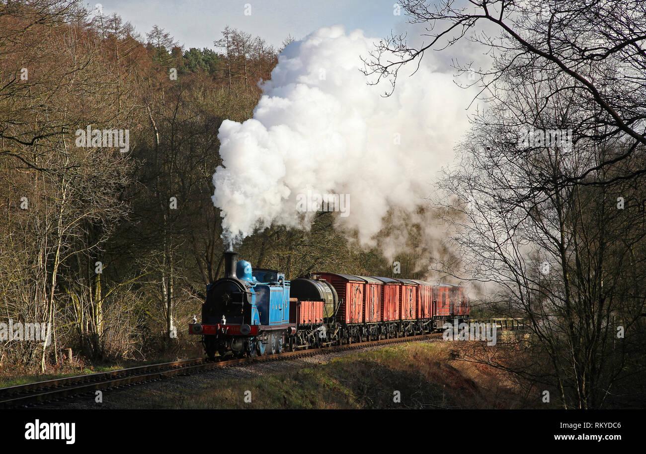 Caley tank 419 heads past Cherryeye bridge on the Churnet Valley railway. - Stock Image