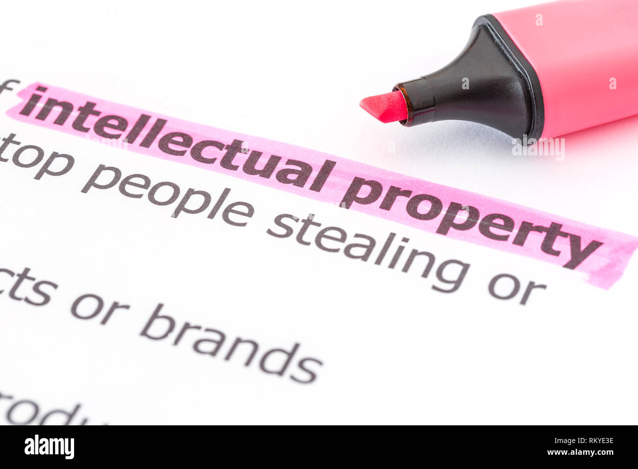 Intellectual property text on white paper with a highlight marker - Stock Image