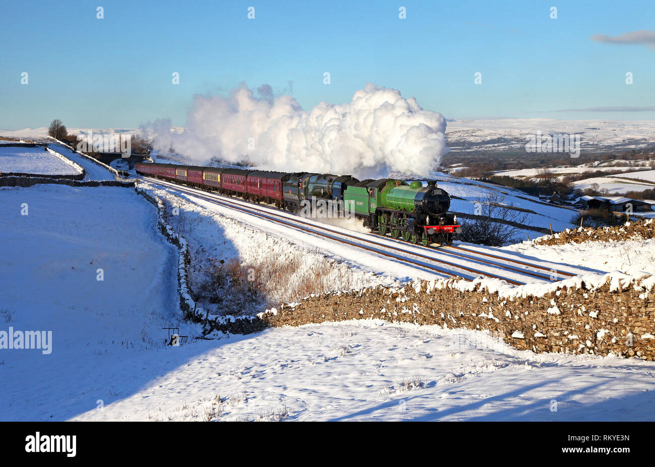 61306 Mayflower and 35018 British India Lines head past Greengates on the Settle & Carlisle line with a WCME. - Stock Image