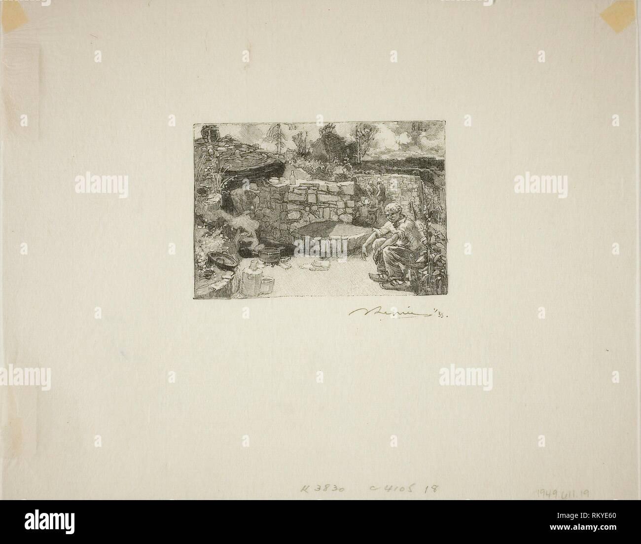 Quarryman's Hut - published 1908 - Louis Auguste Lepère (French, 1849-1918) published by A. Desmoulins (French, active c. 1908-1910) - Artist: Louis - Stock Image