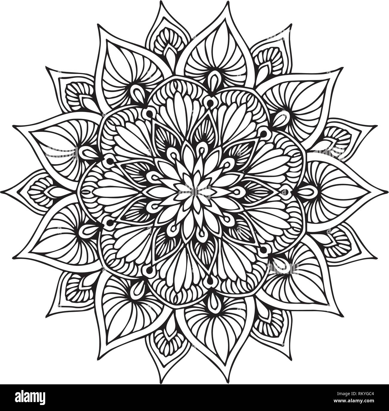 Mandalas coloring book, Oriental therapy, Yoga logos Vector ...