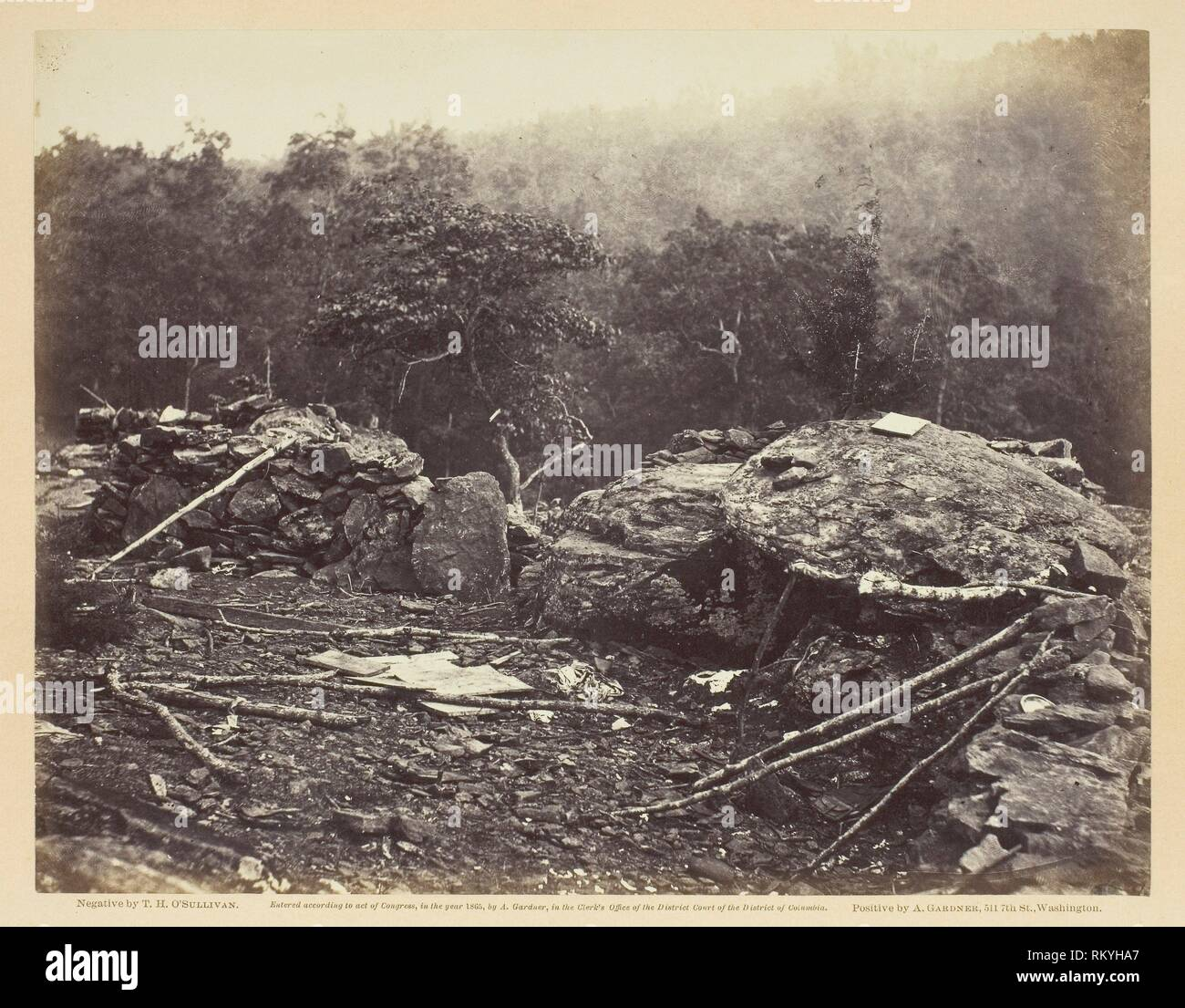 Interior of Breastworks on Round Top, Gettysburg - July 1863 - Timothy O'Sullivan American, born Ireland, 1840–1882 - Artist: Timothy O'Sullivan, - Stock Image