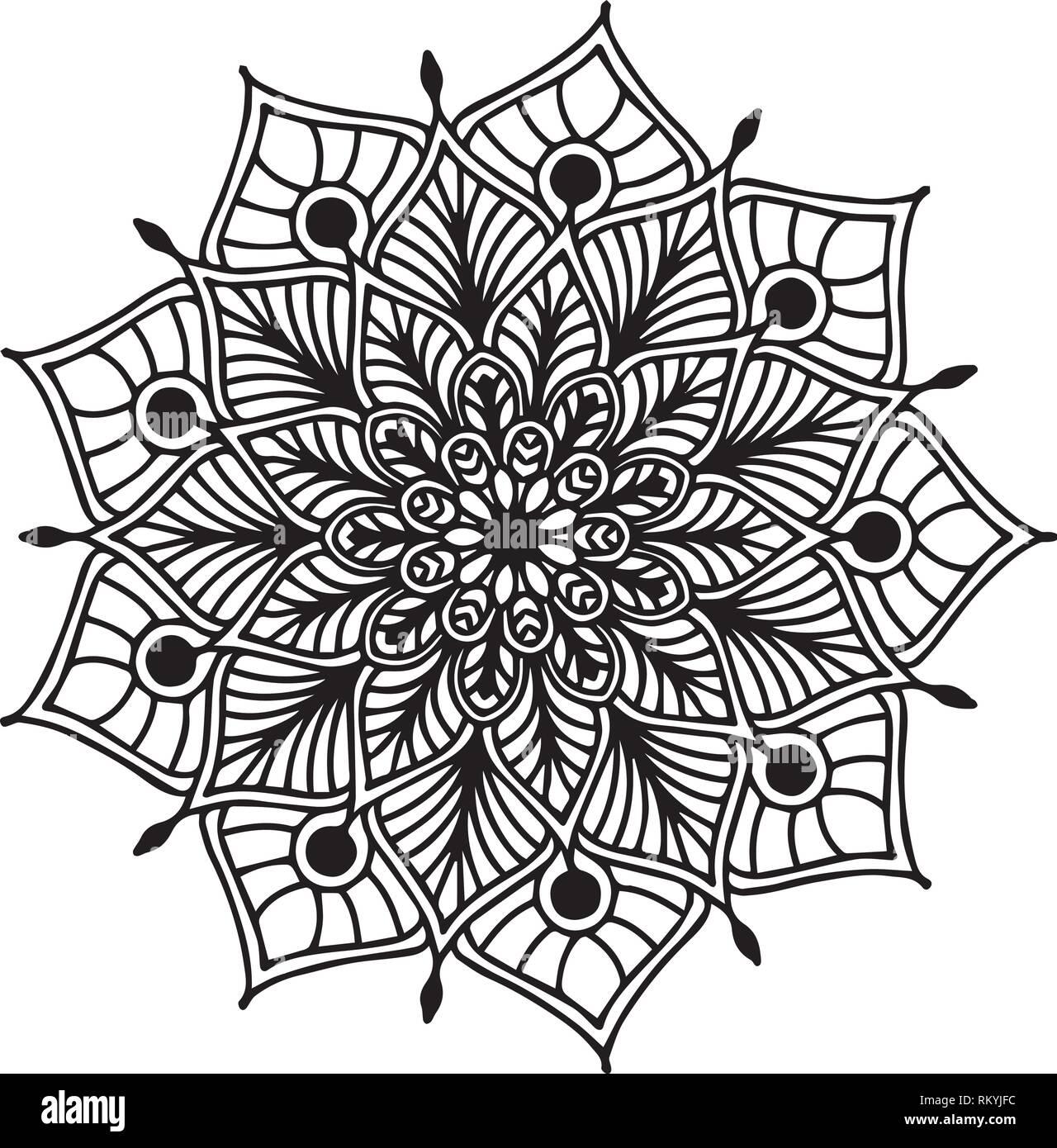 Mandalas coloring book, Oriental therapy, Yoga logos Vector Stock ...