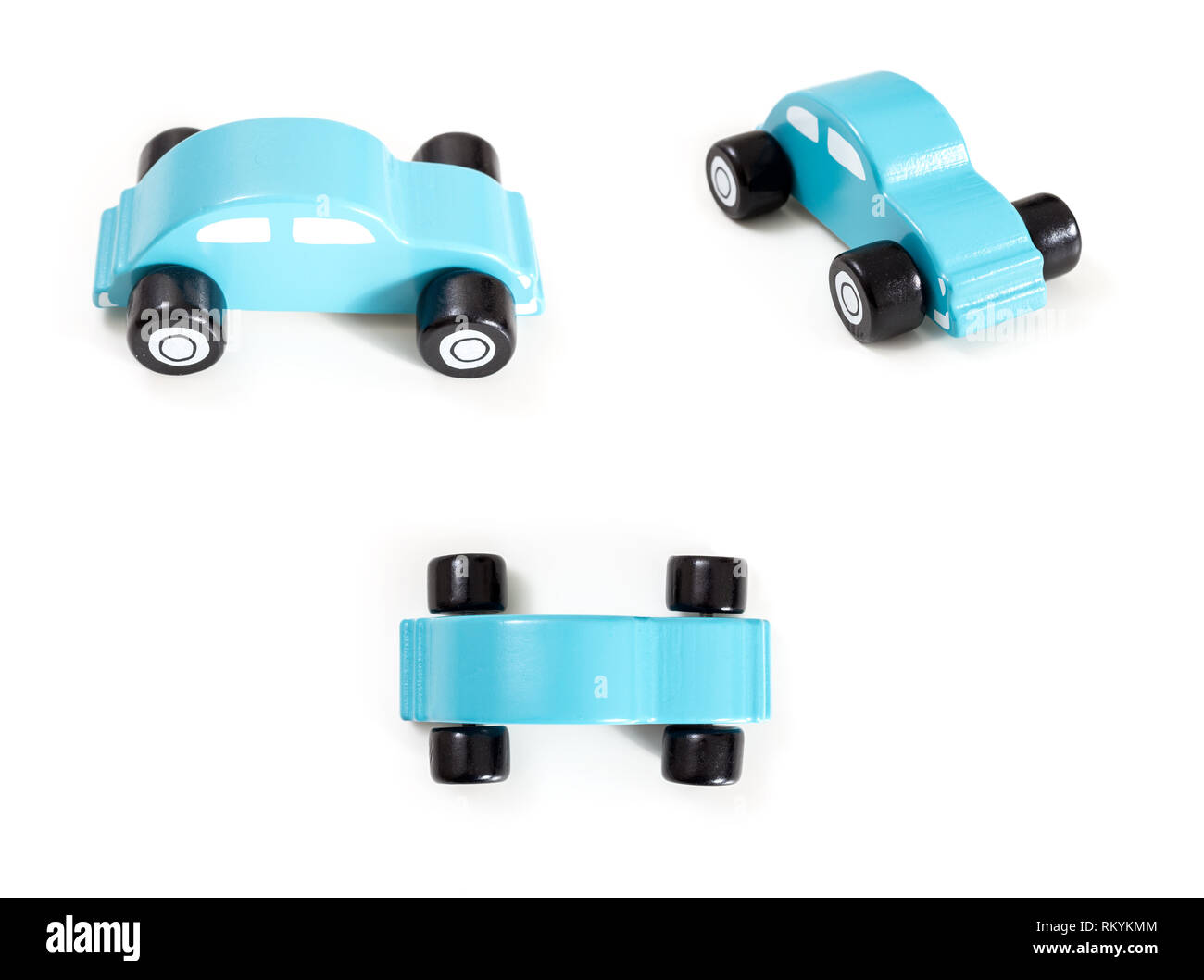 A blue toy car front, side and top view, on white background. - Stock Image