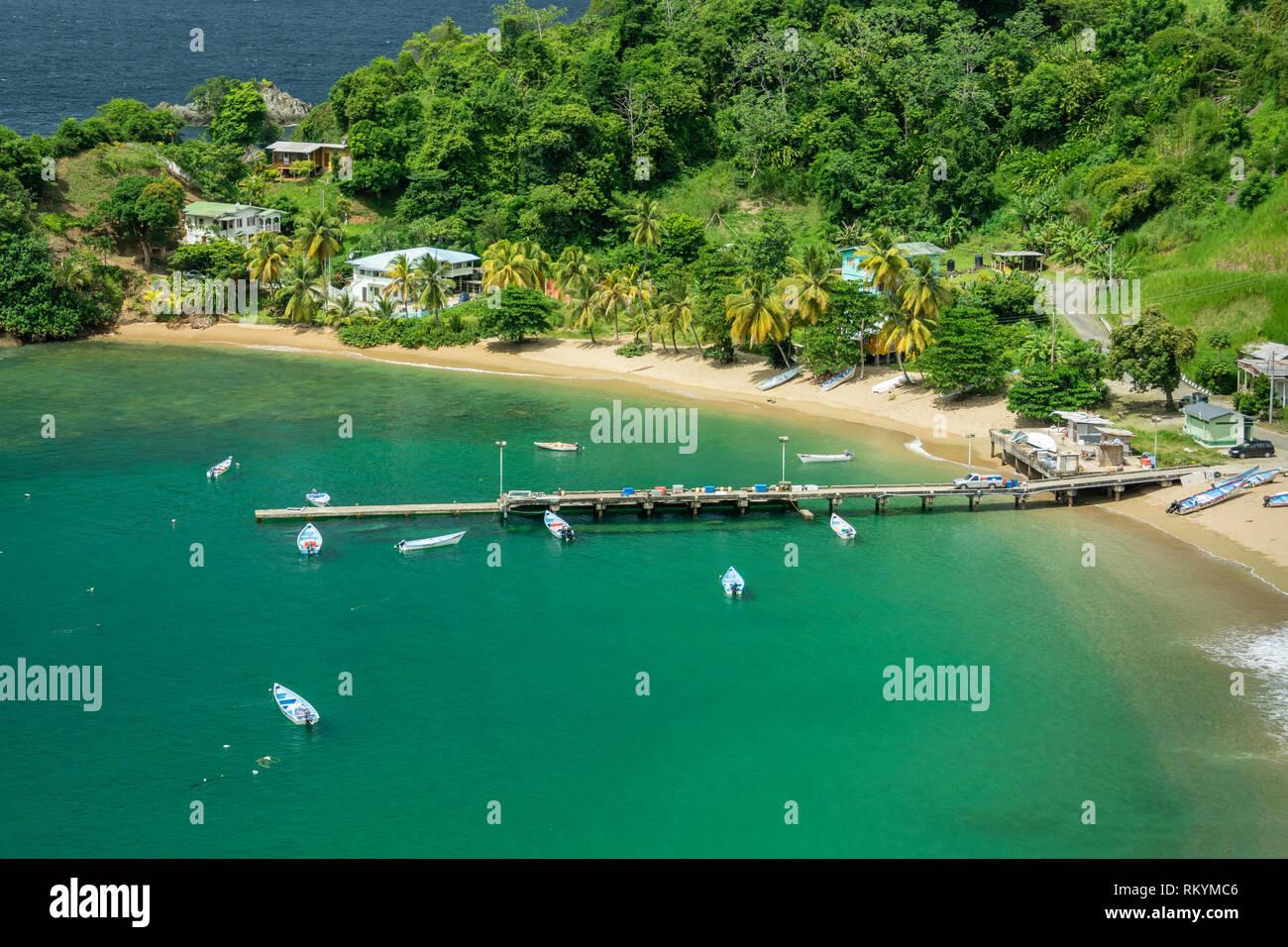 Parlatuvier Bay on north coast of Tobago island, Trinidad & Tobago. Stock Photo