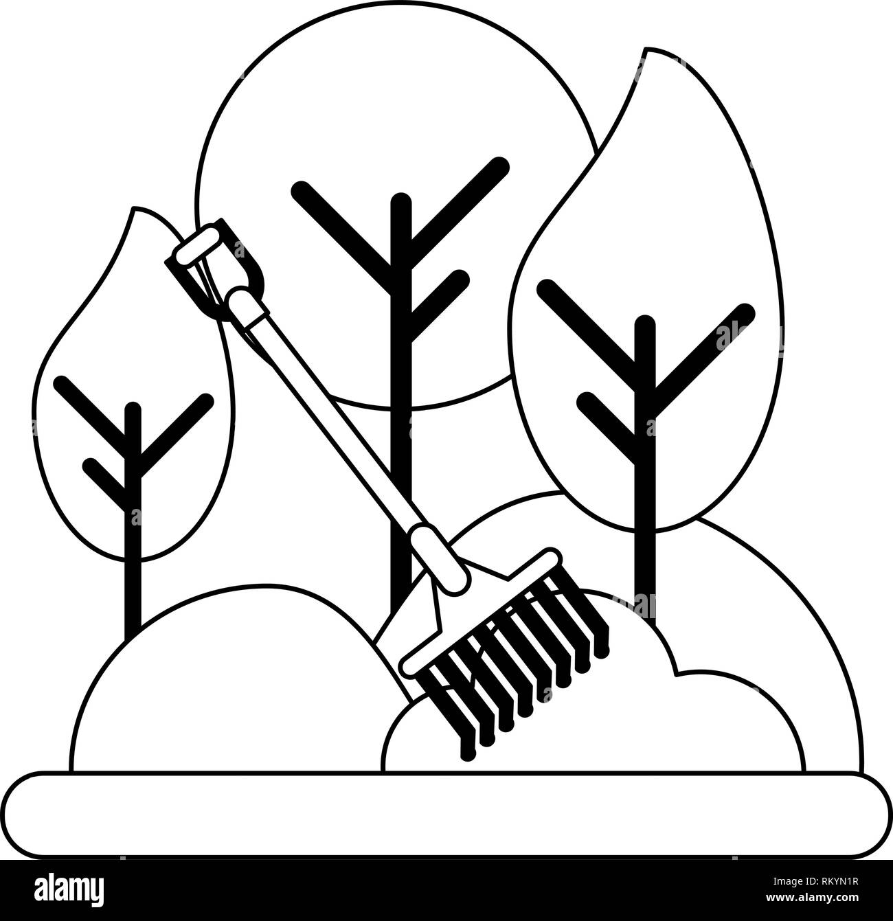 rake working harvest in nature black and white Stock Vector