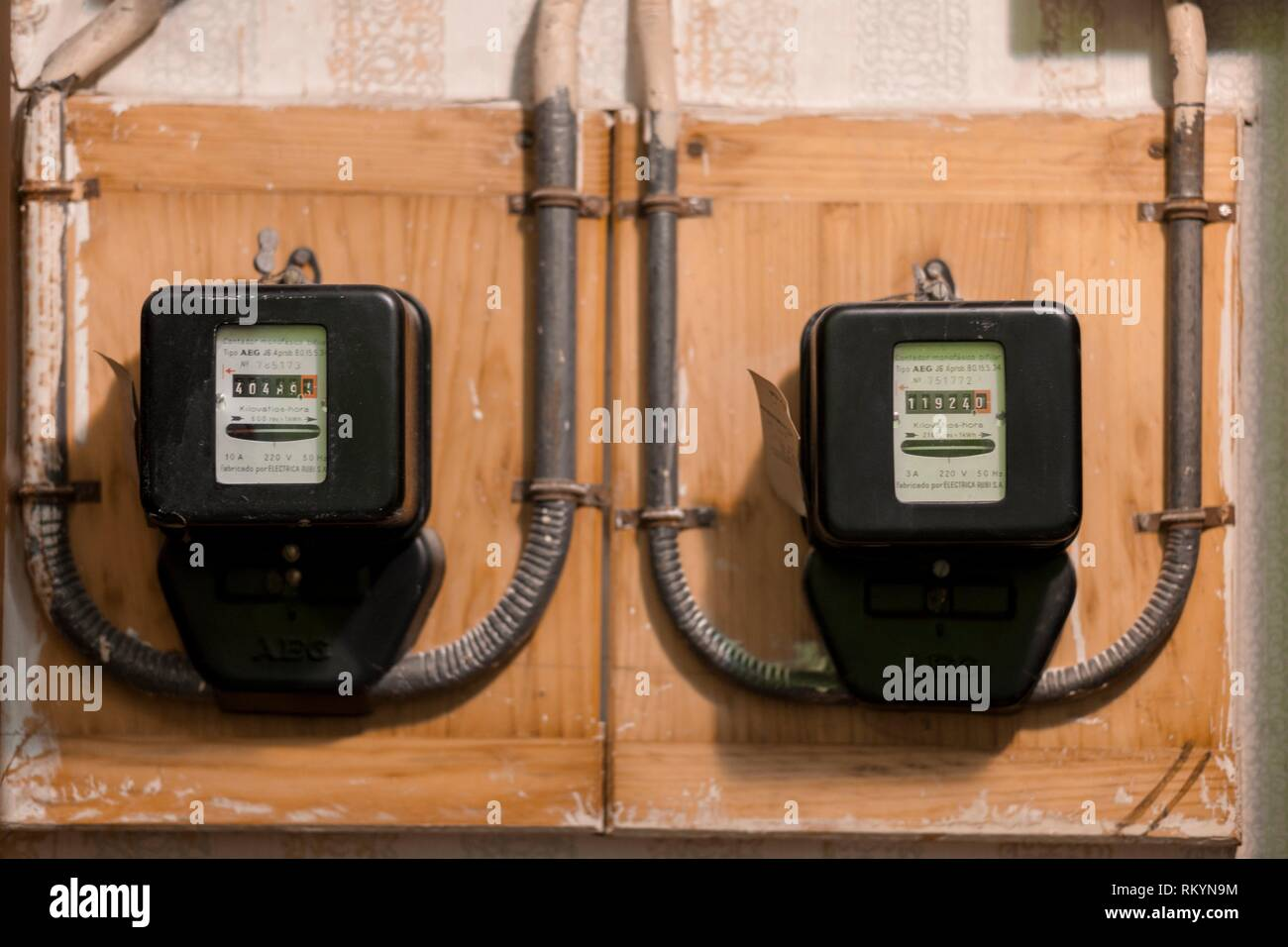 Old electric meter. - Stock Image