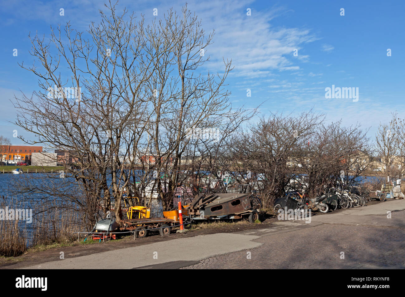 Fredens Havn, Harbour of Peace behind the freetown Christiania in Copenhagen. This maritime community is now up for removal according to authorities. - Stock Image