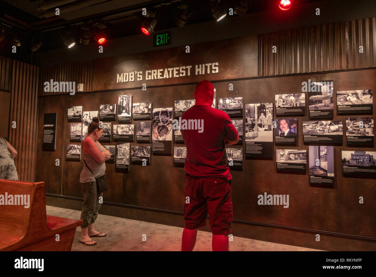 Photo wall of Police photos of Mob victims, The Mob Museum, Las Vegas (City of Las Vegas), Nevada, United States. - Stock Image