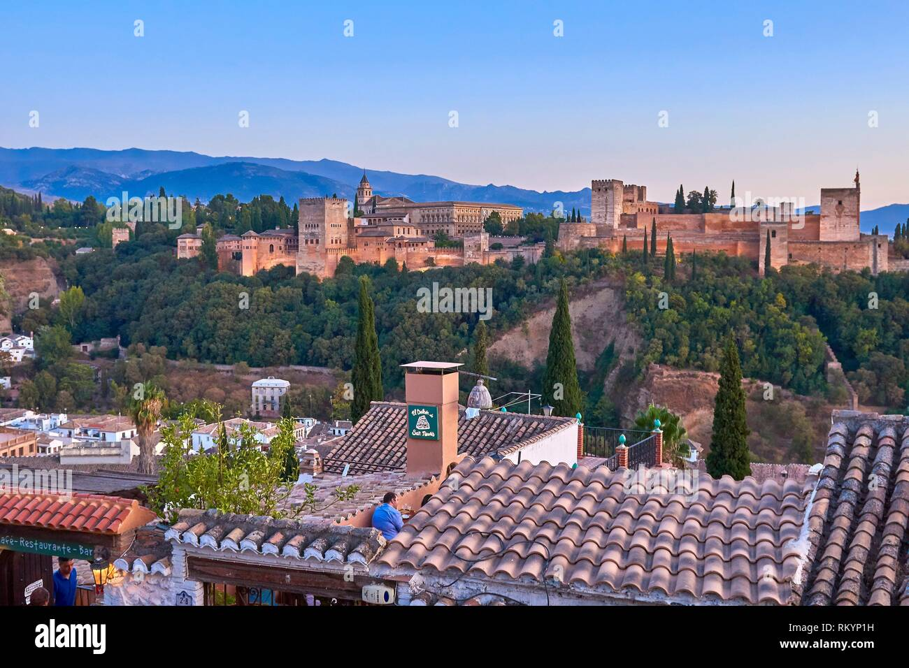 Alhambra, UNESCO World Heritage Site, Albaicin, Sierra Nevada and la Alhambra at Sunset, Granada, Andalusia, Spain. - Stock Image