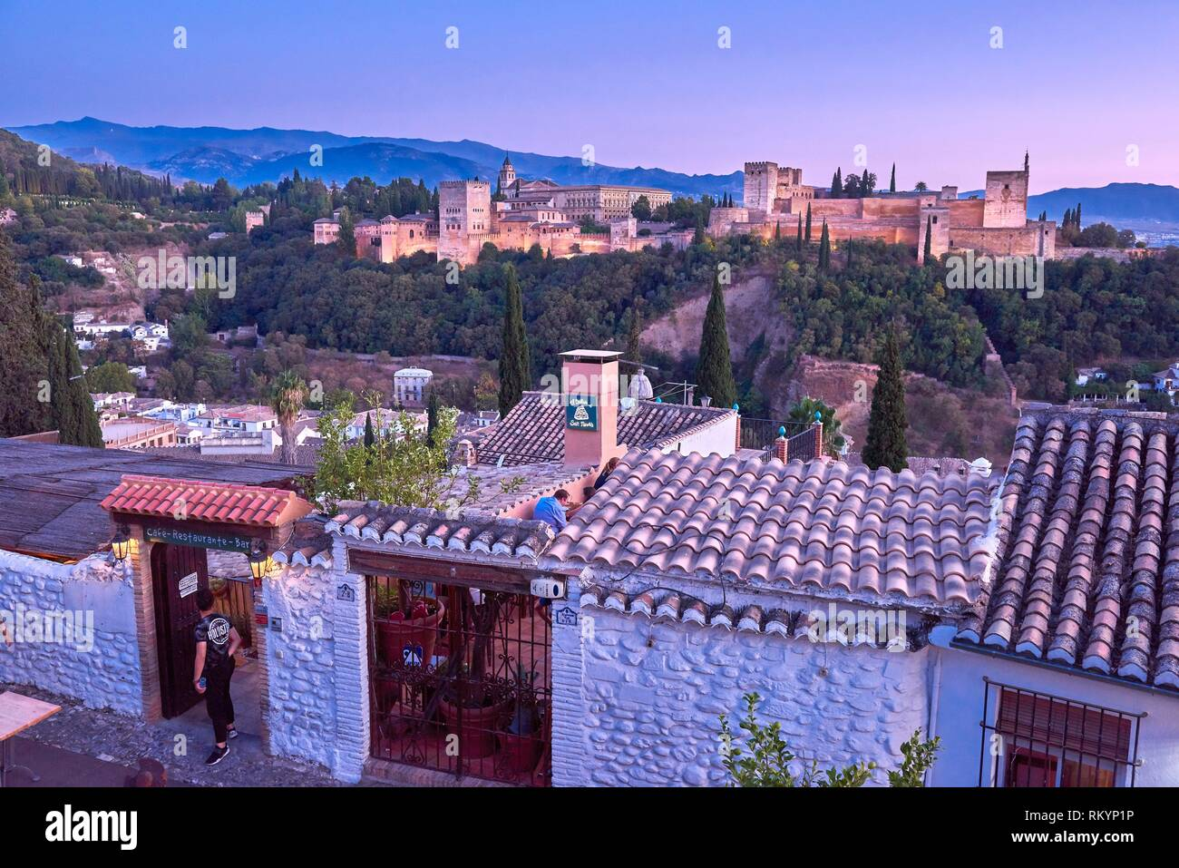 Alhambra, UNESCO World Heritage Site, Albaicin, Sierra Nevada and la Alhambra at Sunset, Granada, Andalusia, Spain. Stock Photo