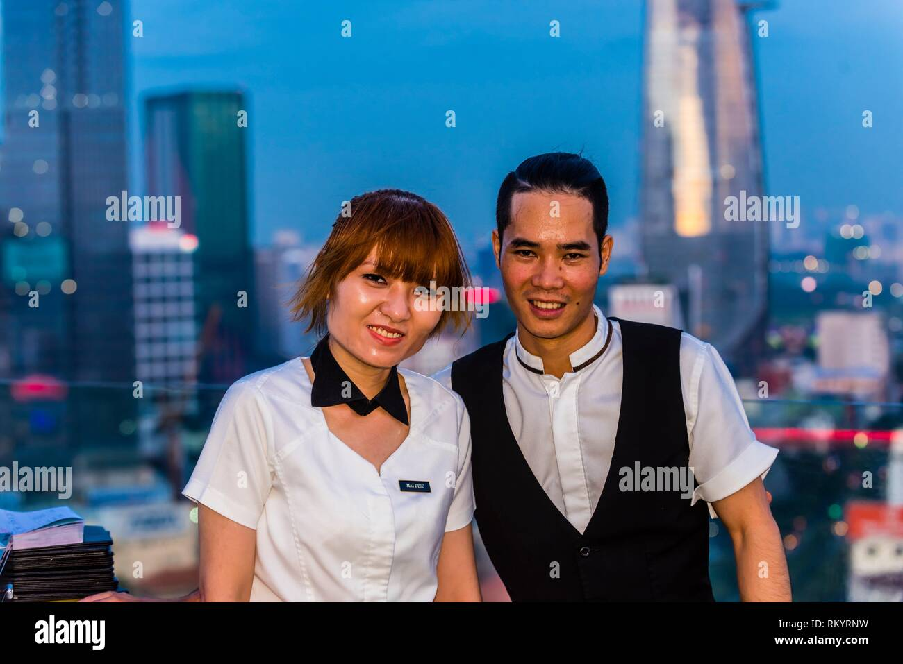 The Chill Skybar on the 25th floor of AB Tower, which has tremendous panoramic views over the city, District 1, Ho Chi Minh CIty (Saigon), Vietnam. Stock Photo