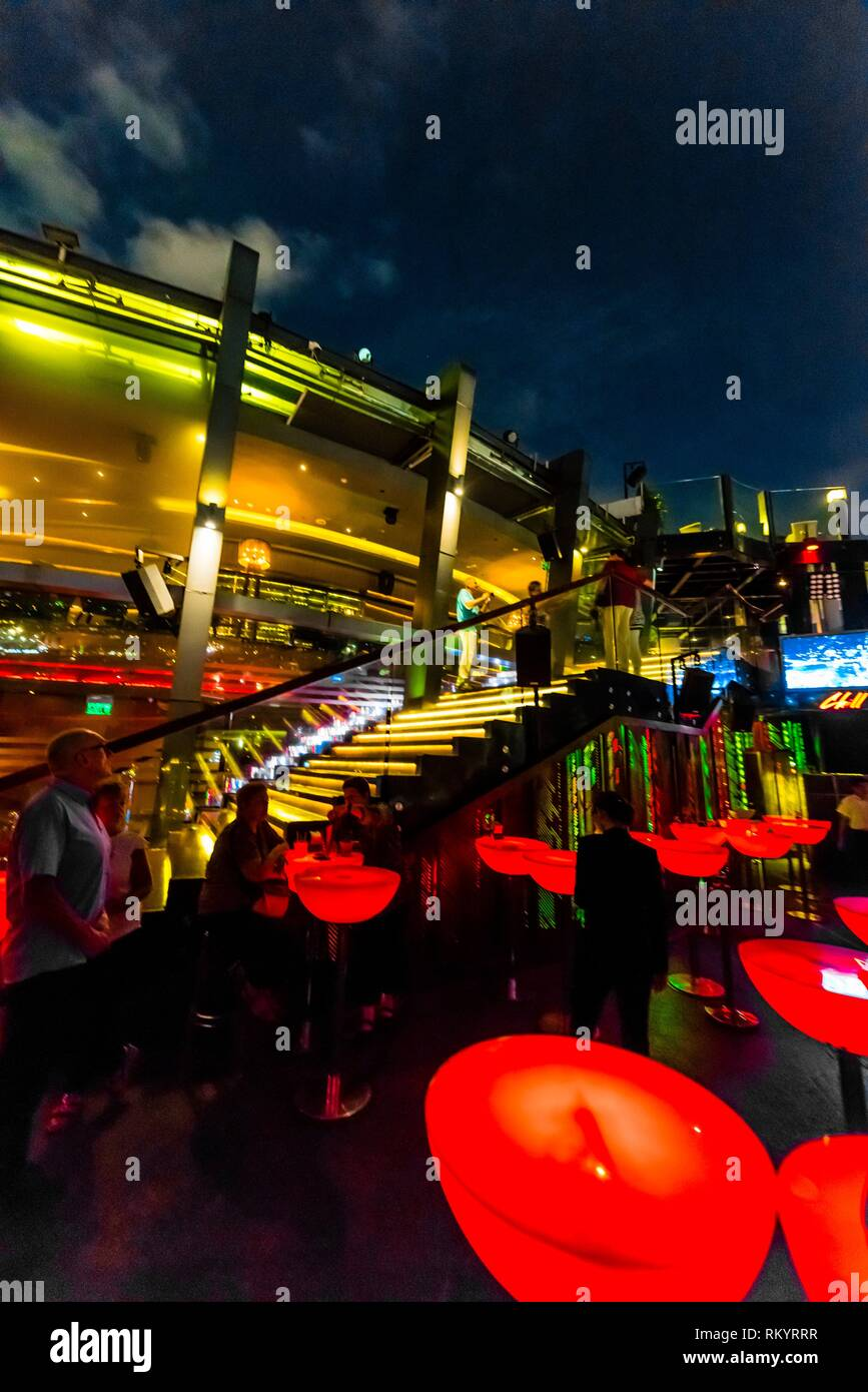 The Chill Skybar on the 25th floor of AB Tower, which has tremendous panoramic views over the city, District 1, Ho Chi Minh CIty (Saigon), Vietnam. - Stock Image