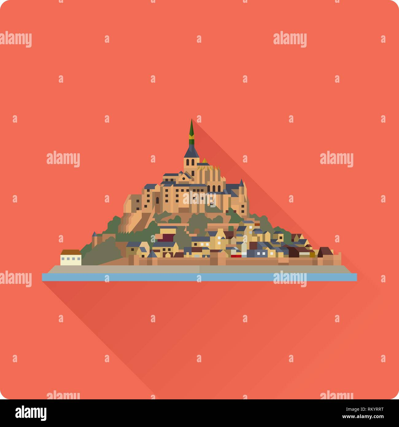 Flat design long shadow vector icon of Le Mont-Saint-Michel, island, village and monastery off the French Normandy coast. - Stock Vector