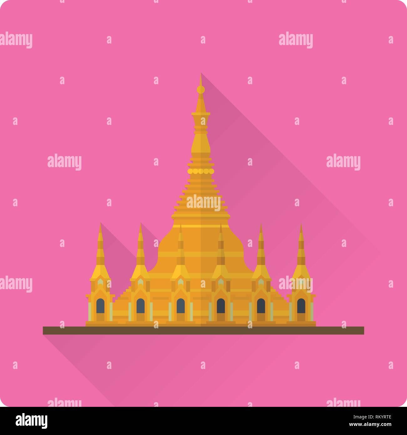 Flat design long shadow vector icon of Shwedagon Pagoda, Yangon, Myanmar - Stock Vector