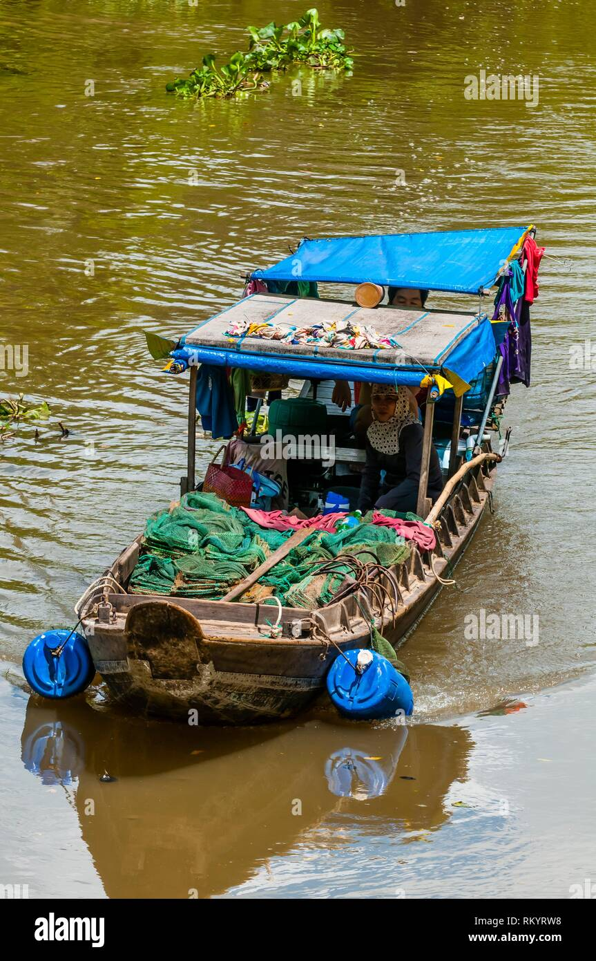 Boating along the backwaters, Cai Lay, Mekong Delta, Vietnam. - Stock Image