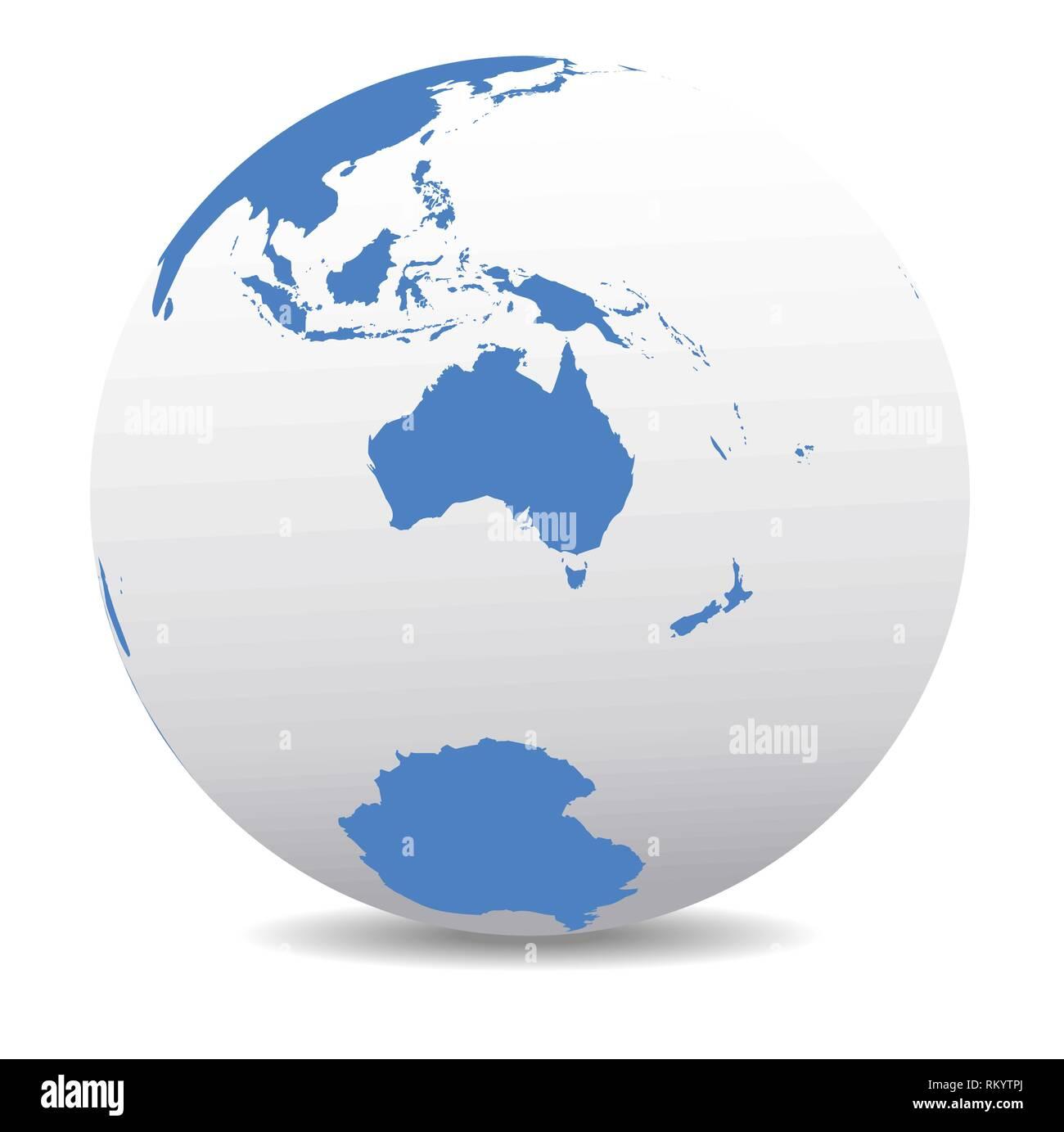 Australia and New Zealand, South Pole, Antarctica, Global ...