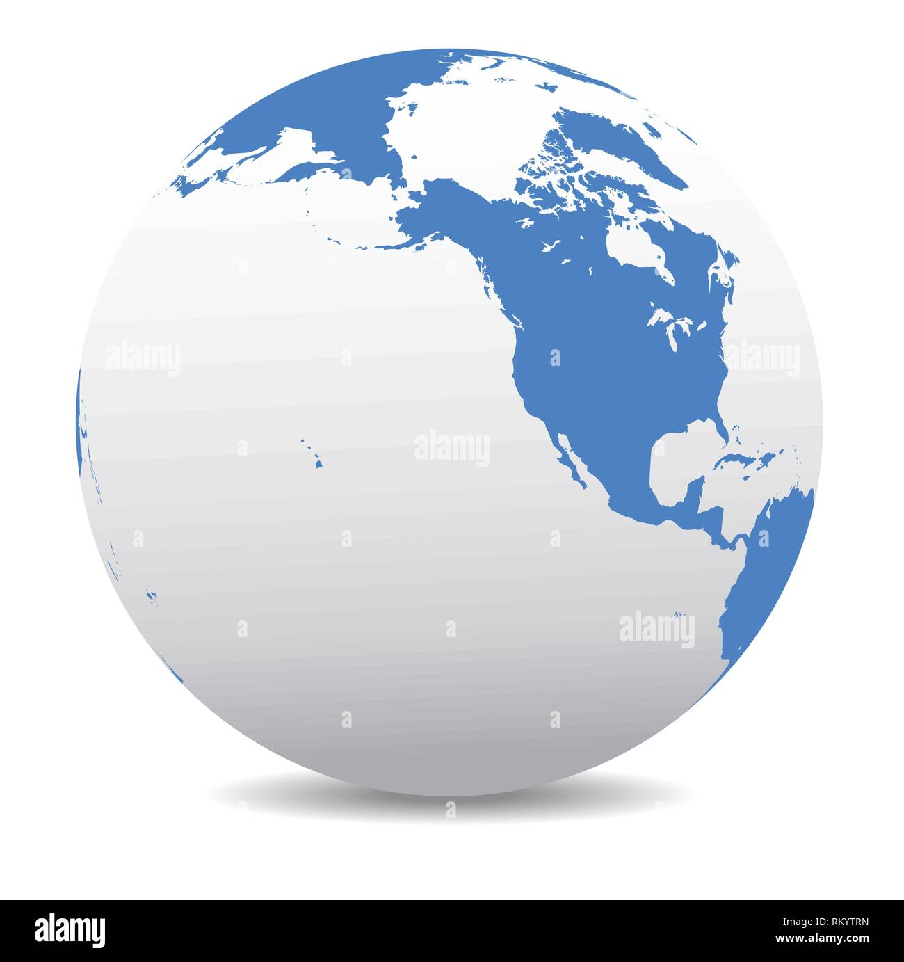 North America Canada Siberia And Hawaii Global World Vector Map