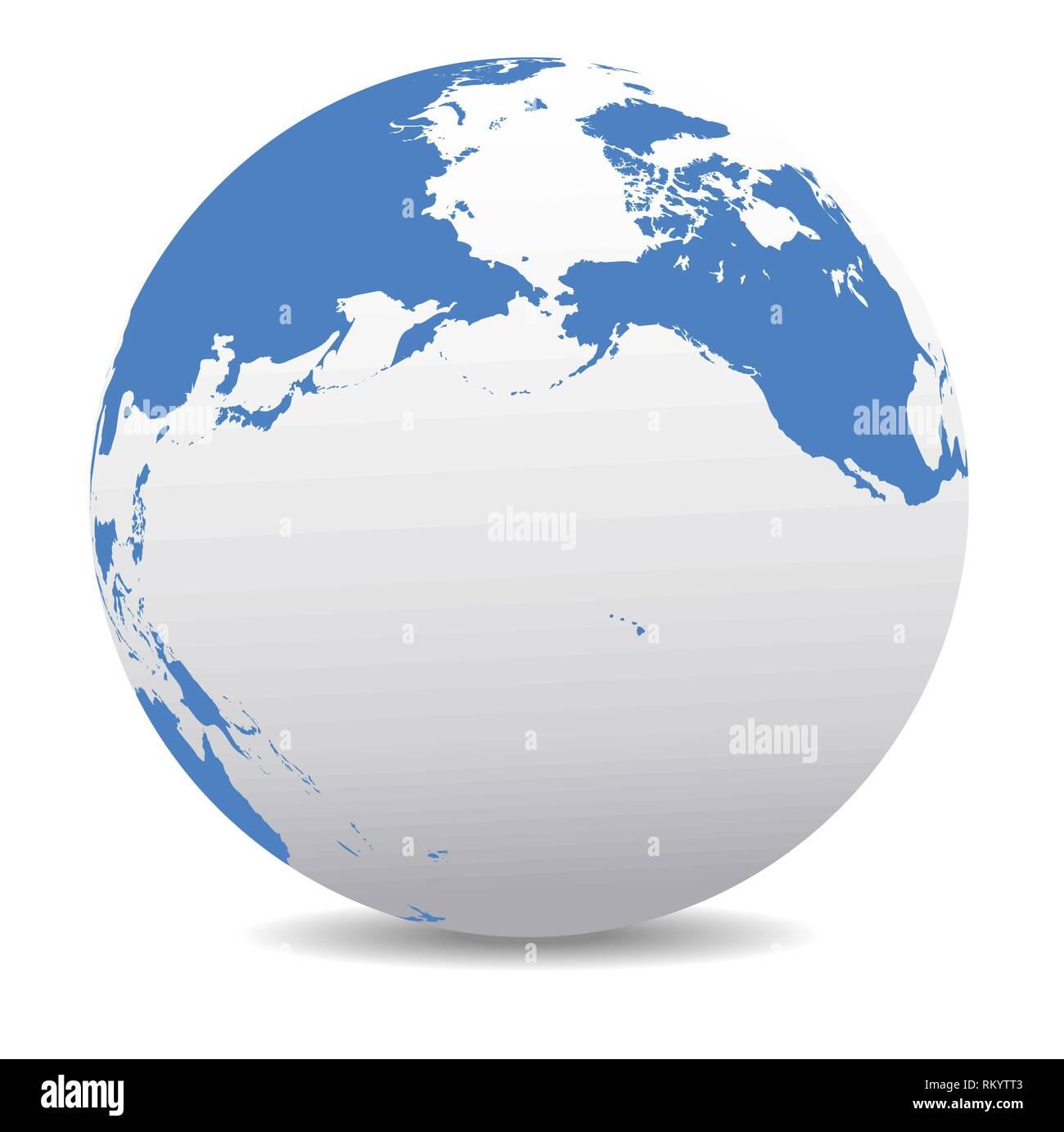 Pacific Rim North America, Canada, Siberia Russia and Hawaii Global World, Vector Map Icon of the World Globe - Stock Vector