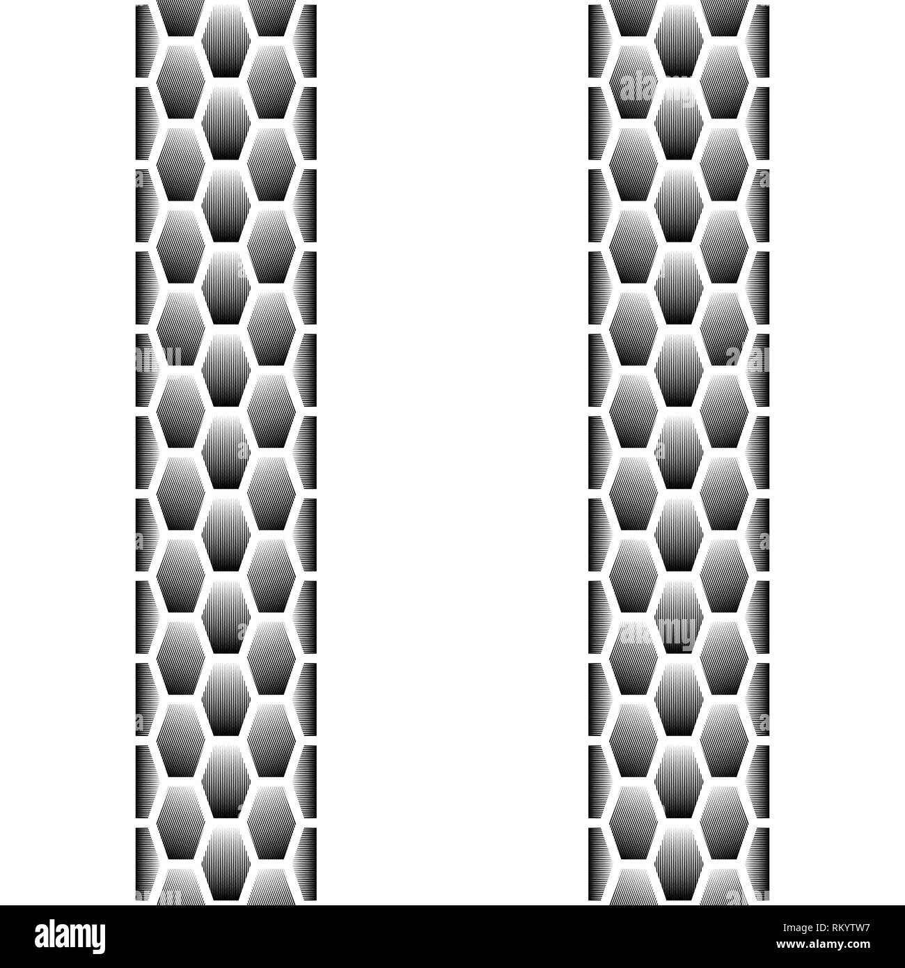 Black blended lines seamless tire track isolated on white background Stock Vector