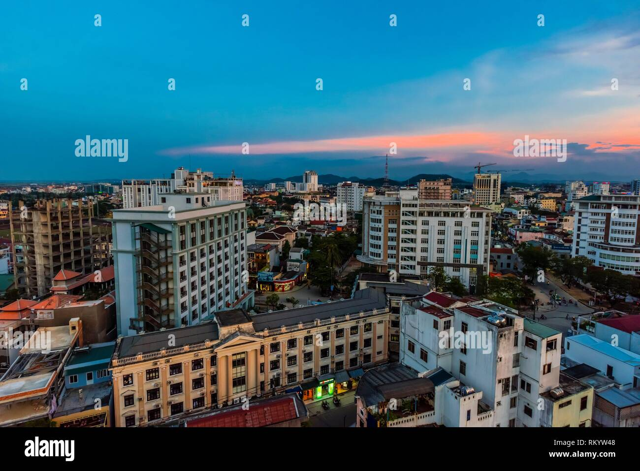 High angle view of buildings in Hue, Central Vietnam. - Stock Image