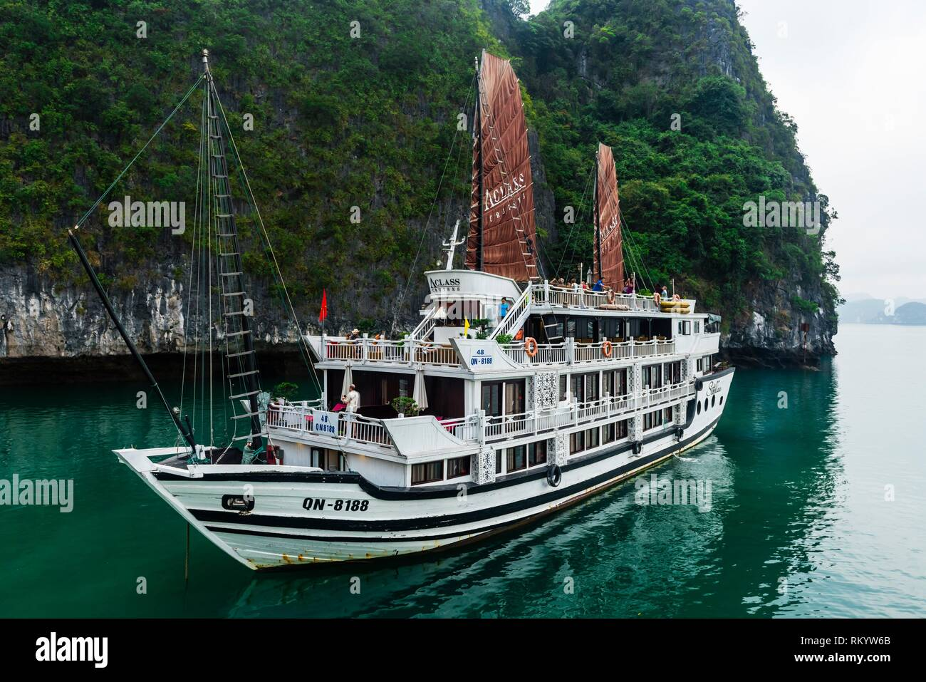 Aclass Cruises Stellar in Halong Bay, North Vietnam. The bay features 3,000 limestone and dolomite karsts and islets in various shapes and sizes Stock Photo