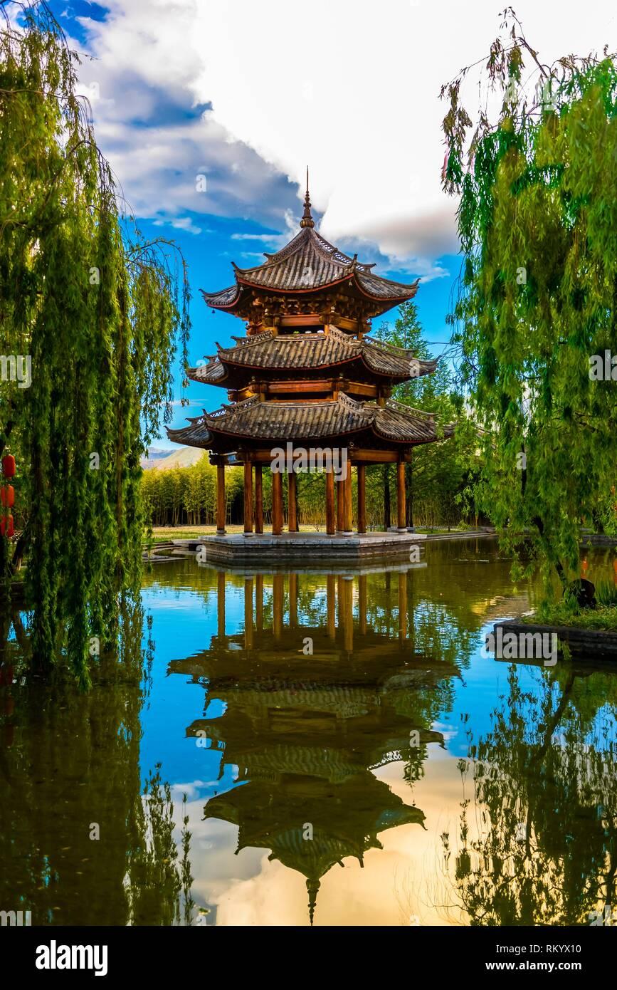 A pagoda at the Banyan Tree Lijiang resort hotel, Shuhe, Yunnan Province, China. - Stock Image