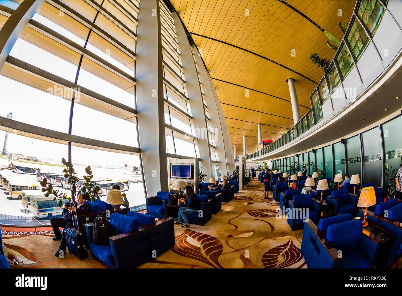 China Eastern Airlines Business Class Lounge, Kunming Changshui International Airport, Kunming, Yunnan Province, China. - Stock Image