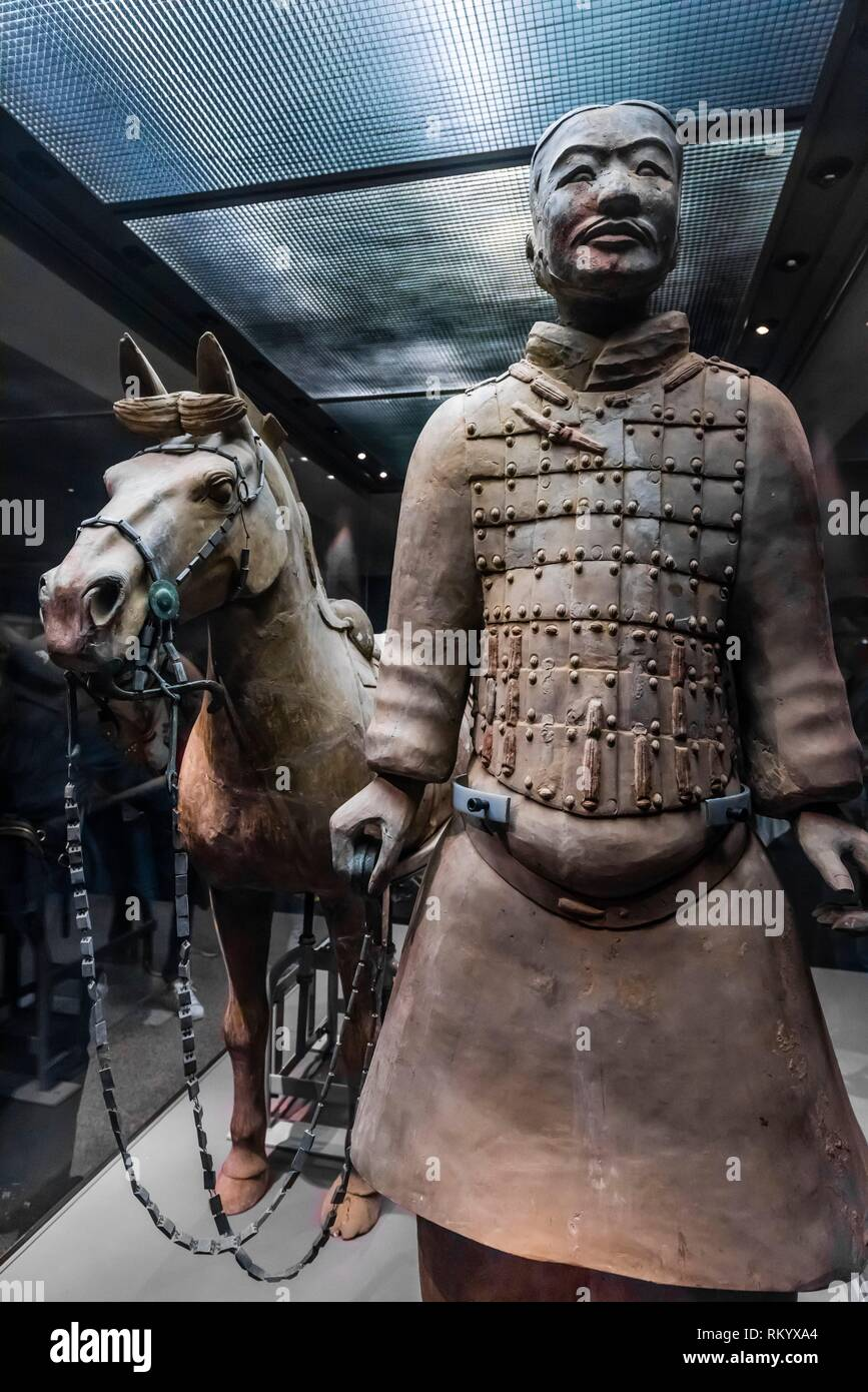 A Cavalryman and his saddled War-horse of the Terracotta Army. 116 similar cavalrymen with their horses were found in Pit 2. Mausoleum of the FIrst - Stock Image