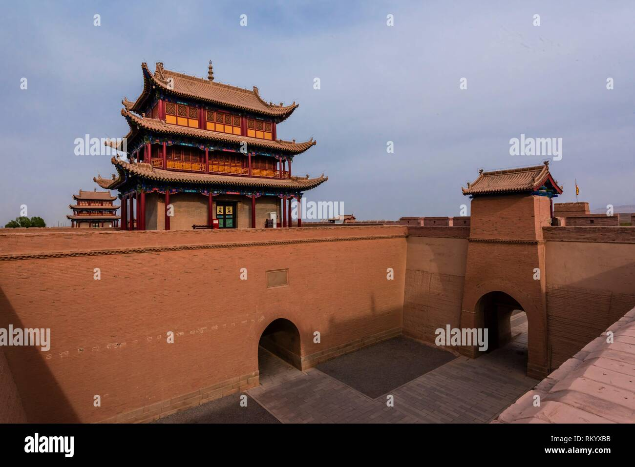 Rouyuan Tower (West Tower). Jiayuguan Fort is the western end of the Great Wall built in the Ming Dynasty (1368 - 1644). It was an important military - Stock Image