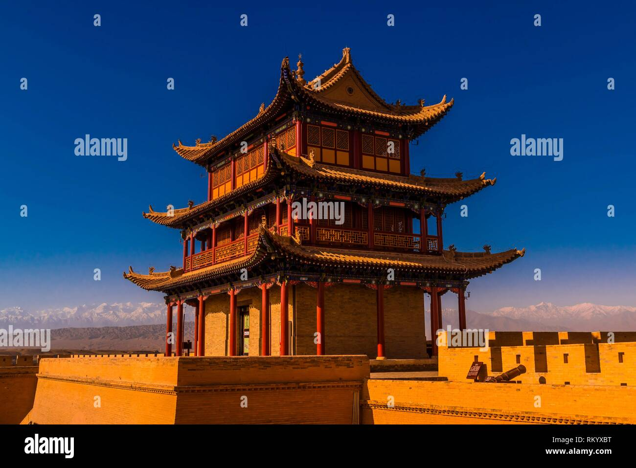 Jiayuguan Fort is the western end of the Great Wall built in the Ming Dynasty (1368 - 1644). It was an important military fortress and key waypoint - Stock Image