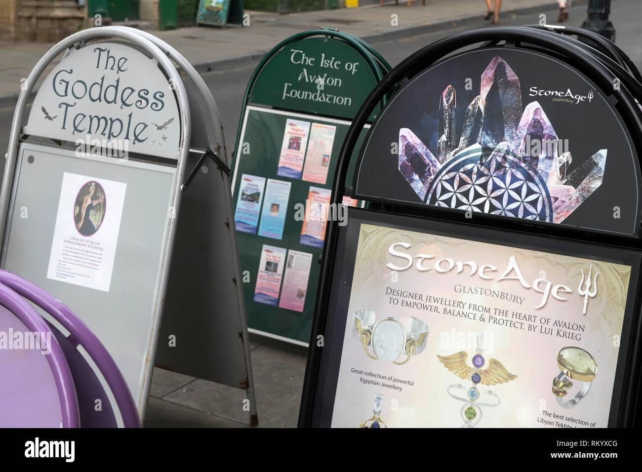 Treatments on offer at the Glastonbury Experience in Glastonbury, UK - Stock Image