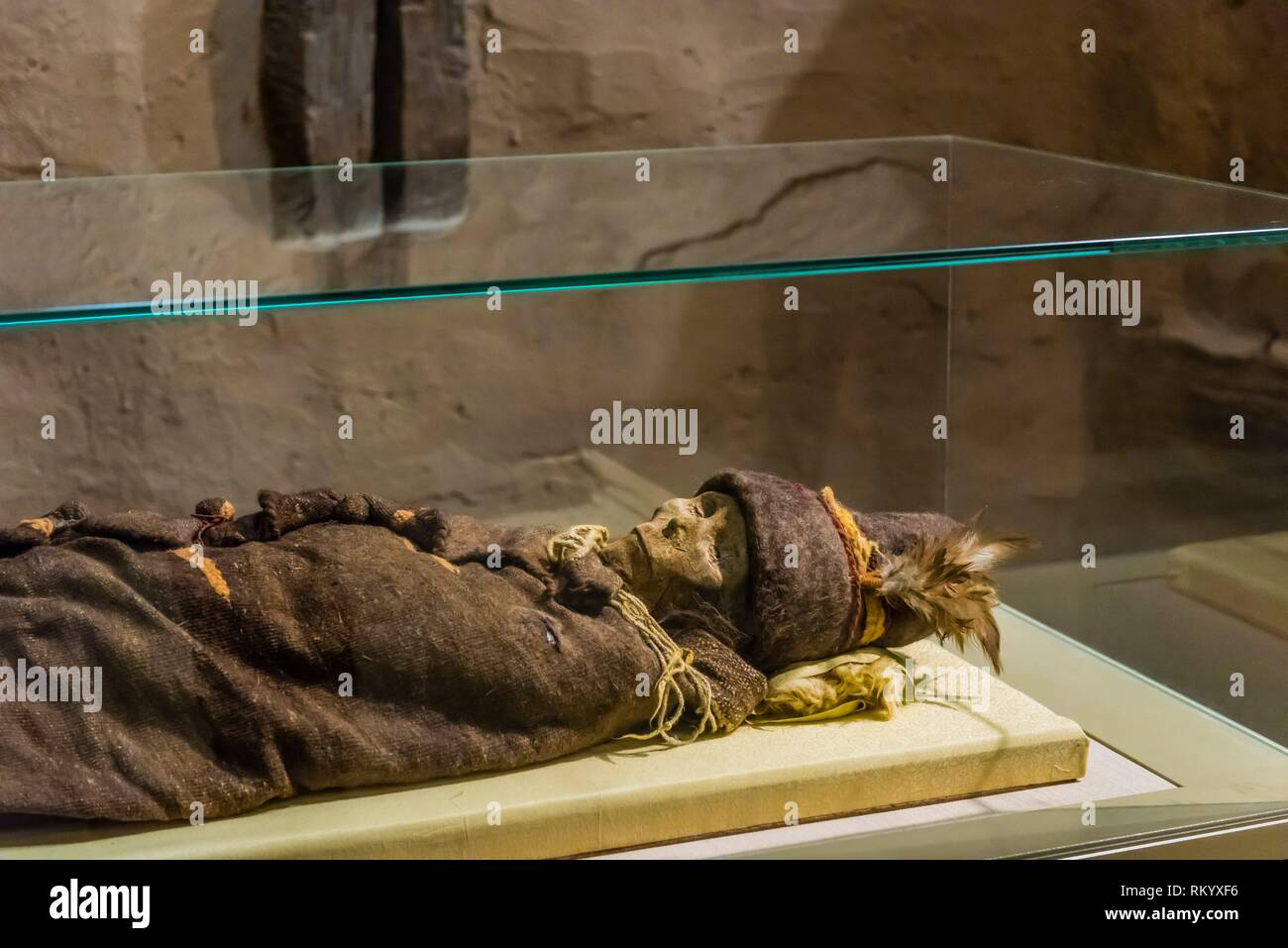 Perfectly preserved mummies retrieved from burial sites in the Taklamakan Desert on display at the Xinjiang Museum, Urumqi, Xinjiang Province, China. - Stock Image