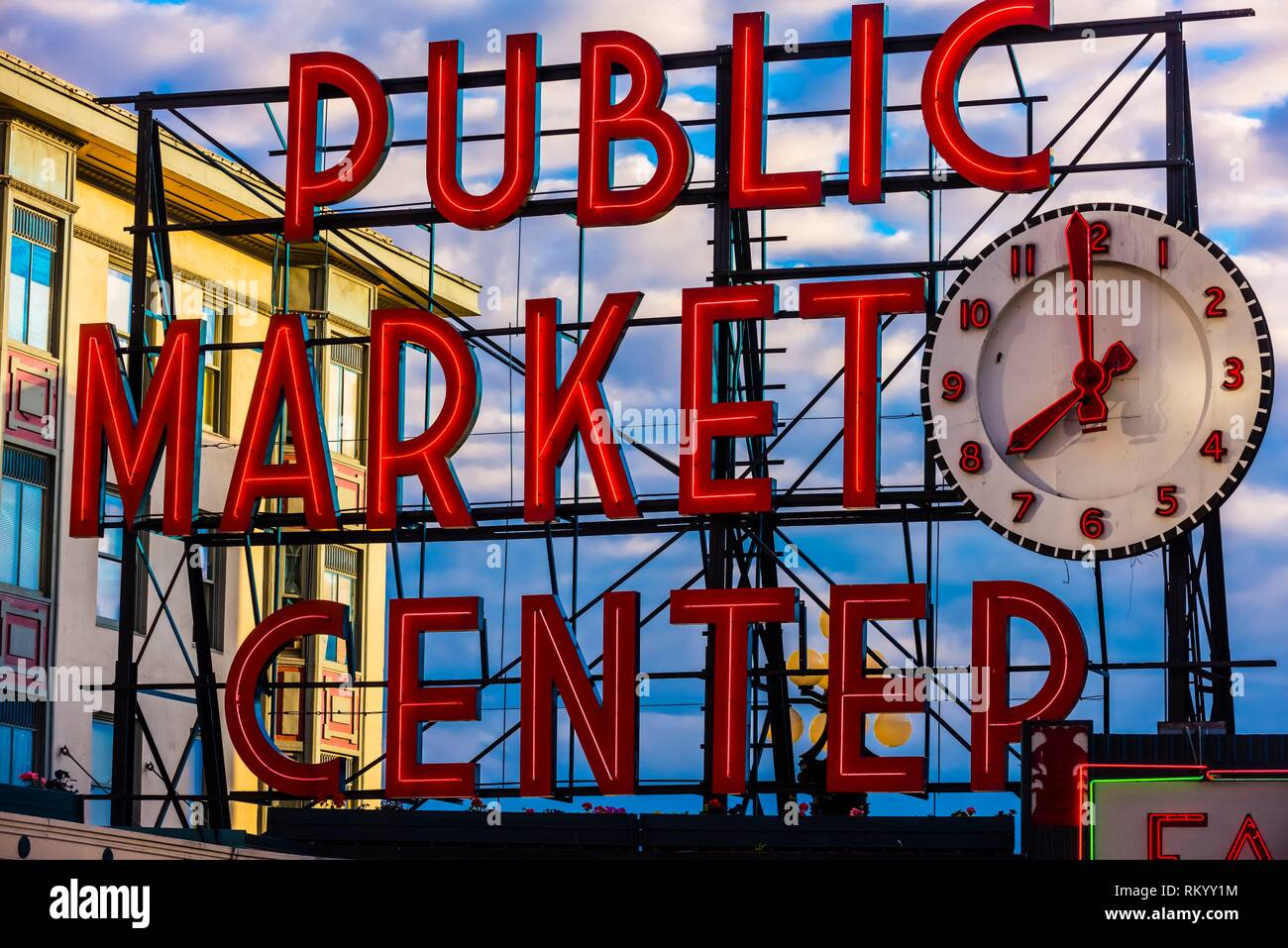 Public Market Center neon sign at the Pike Place Market, Seattle, Washington USA. - Stock Image
