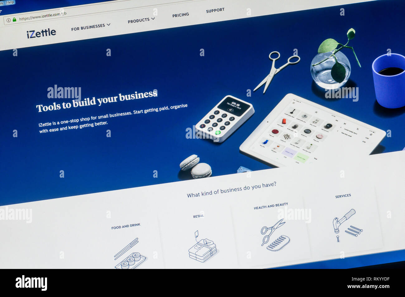Homepage of the website of iZettle the Swedish financial technology company. - Stock Image