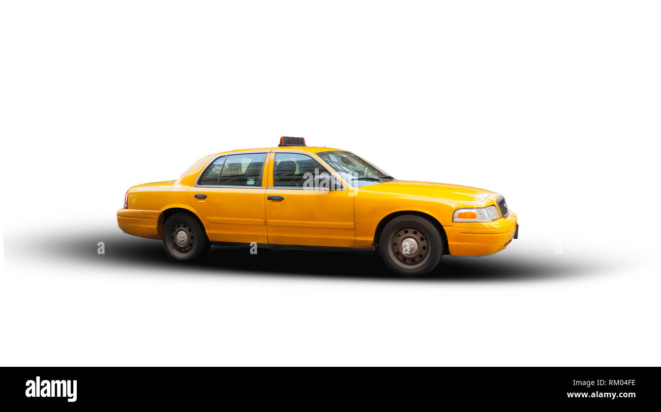 Yellow cab isolated on white background. The taxicabs of New York City are widely recognized icons of the city. - Stock Image