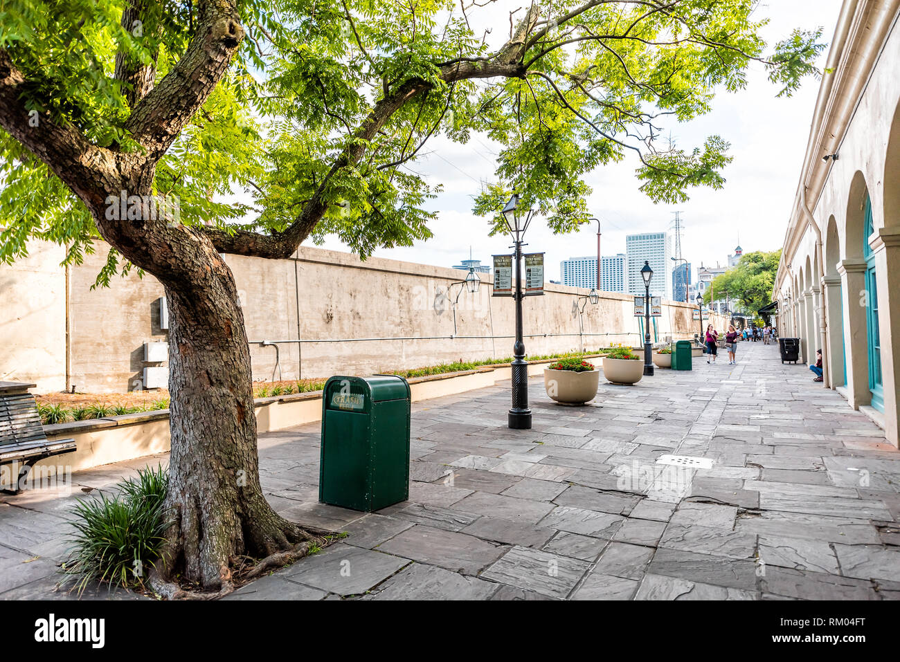 New Orleans, USA - April 23, 2018: Old town Decatur alley street in Louisiana famous city with nobody during spring day - Stock Image