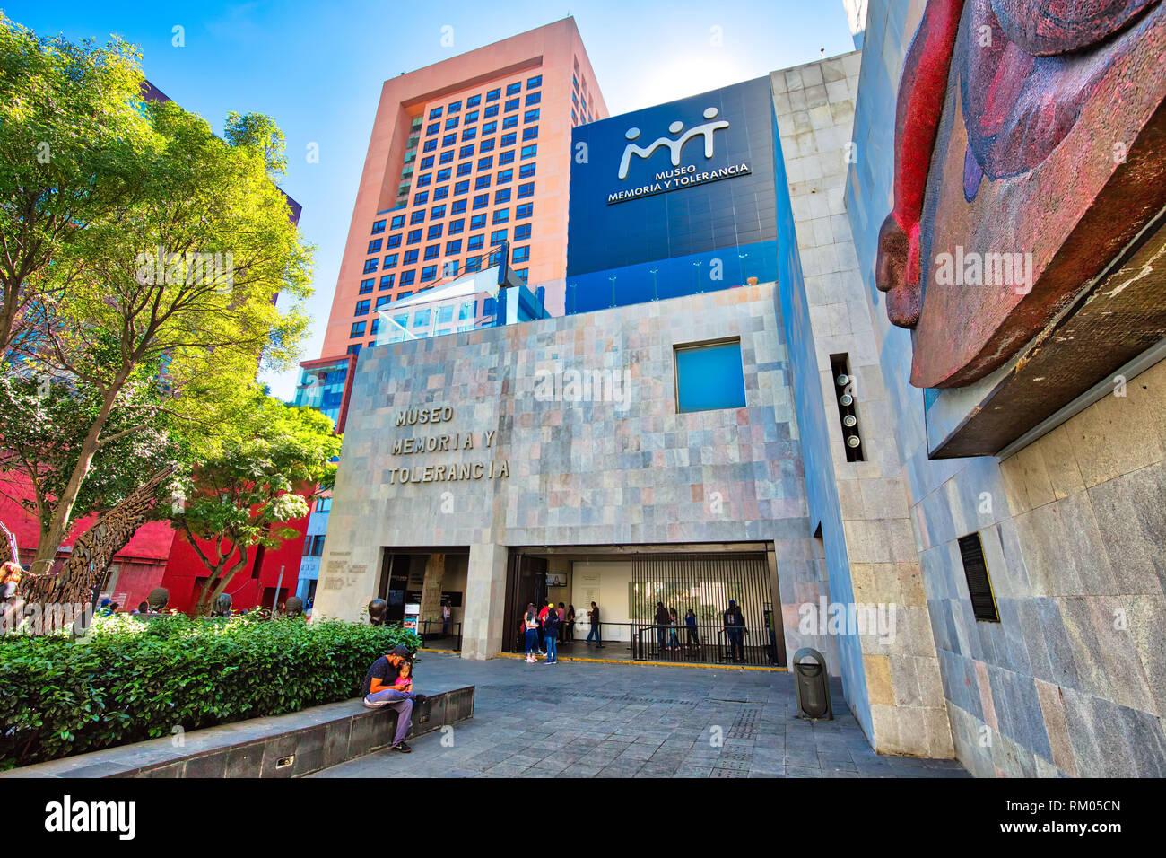 Mexico City, Mexico-2 December, 2018: Museo Memoria y Tolerancia (Memory and Tolerance museum) in Mexico city featuring contemporary exhibits - Stock Image