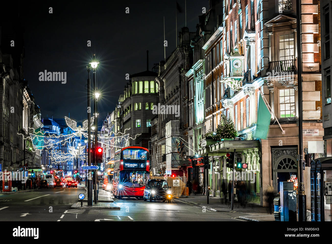 Picadilly decorated for Christmas, London, UK - Stock Image