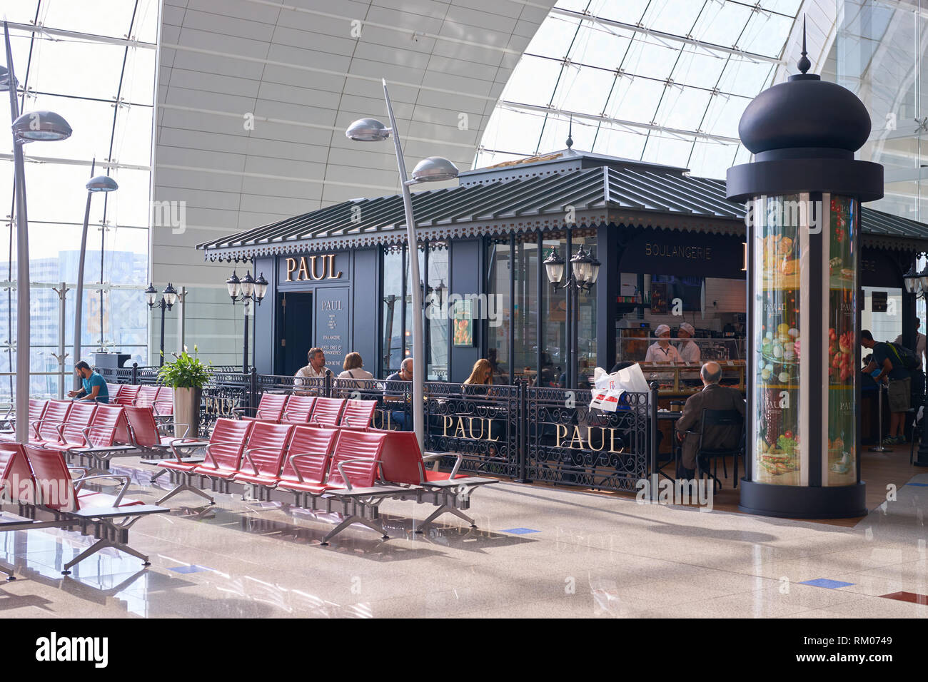 DUBAI, UAE - CIRCA NOVEMBER, 2016: Paul at Dubai International Airport. Paul is a French chain of bakery/cafe restaurants. - Stock Image