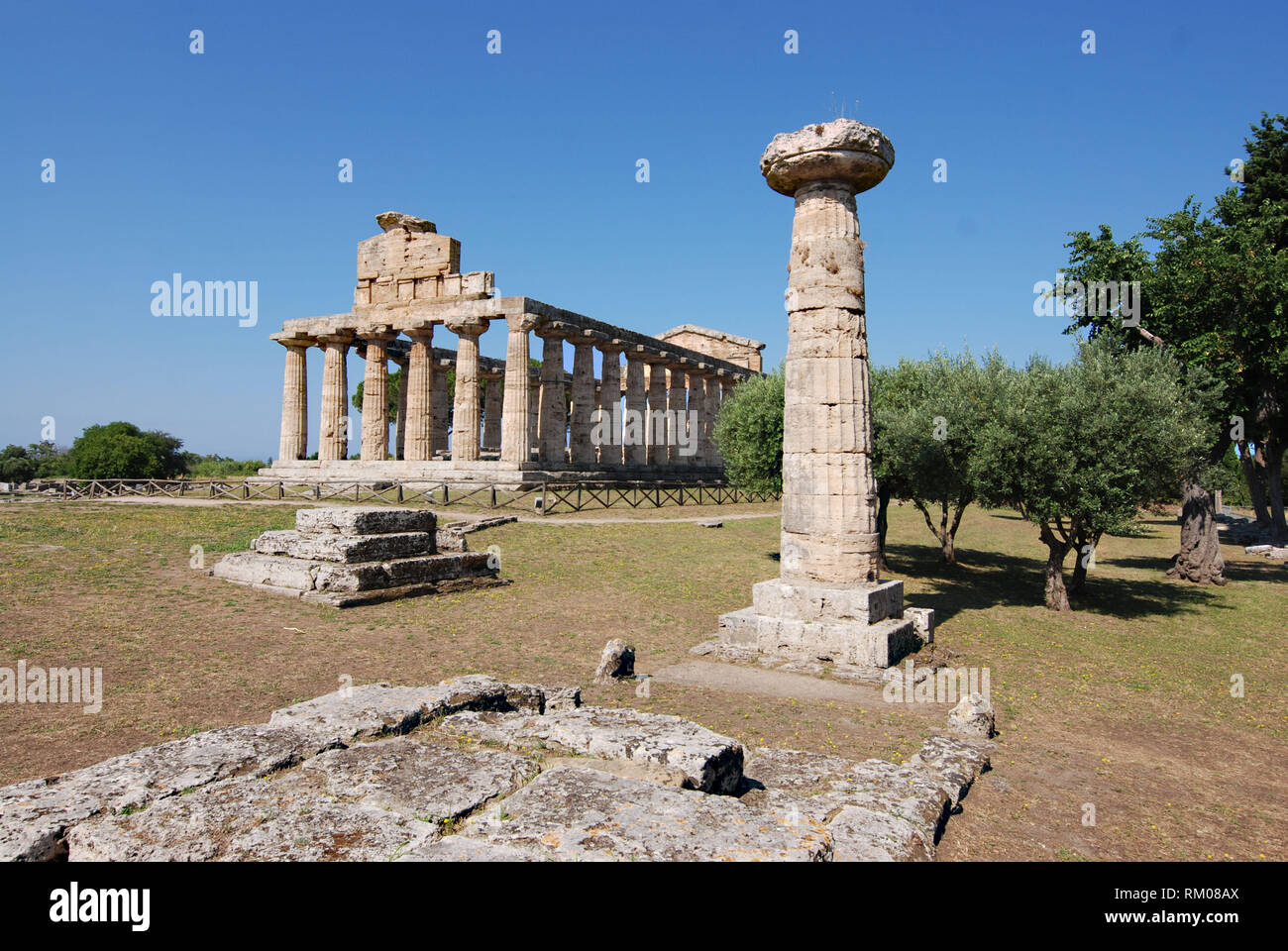 temple of cerere in archaeological site of Paestum great greece salerno italy 2018 - Stock Image